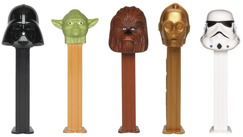 Darth Vader, Yoda, Chewbacca, C-3PO, and Stormtrooper PEZ